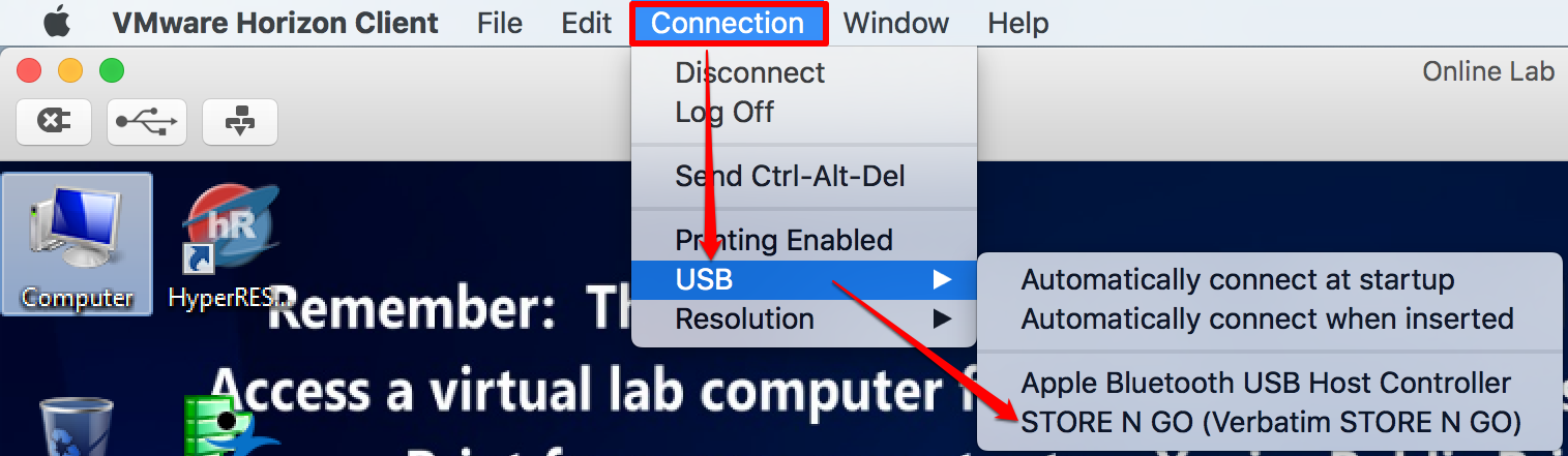 Article - Using USB devices in the Vi