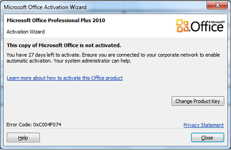 office 2010 activation wizard error
