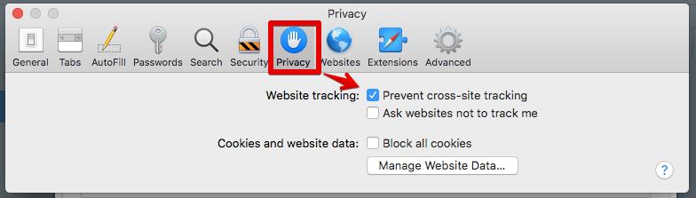 Safari privacy preferences